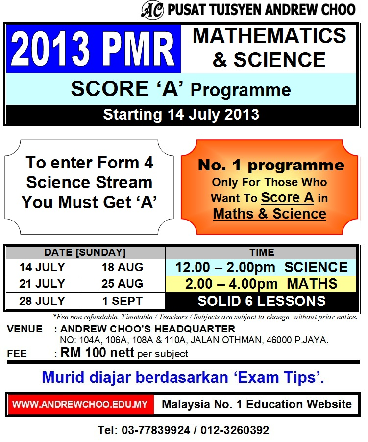 ... , Upsr pmr spm exam tips andrew choo 2013 tuition holiday programme