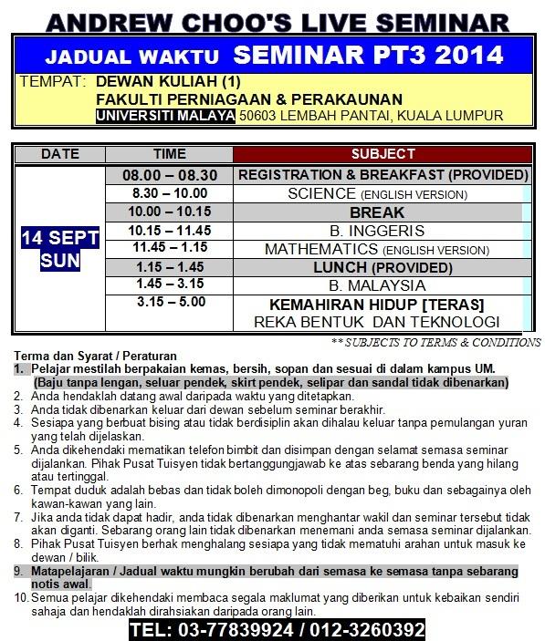 SEMINAR PT3 2014 TIMETABLE