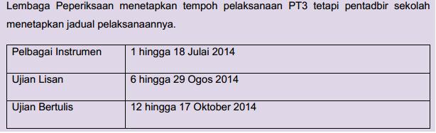 JADUAL PELAKSANAAN PT3 tahun 2014