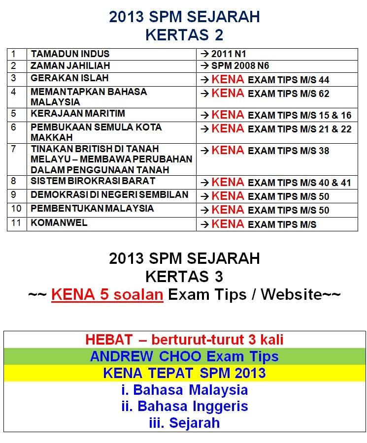 2013 SPM SEJARAH - KENA TEPAT