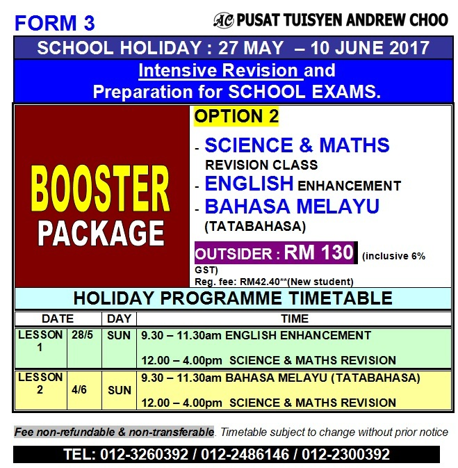 F3 HOLIDAY PROGRAMME REVISION JUNE 2017 - BOOSTER
