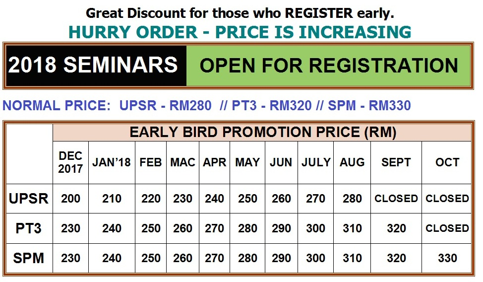 2018 SEMINAR EARLY BIRD PROMOTION